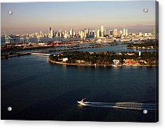 Acrylic Print featuring the photograph Retro Style Miami Skyline Sunrise And Biscayne Bay by Gary Dean Mercer Clark