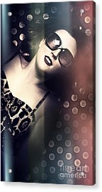 Retro Summer Pin-up Girl With Short Hairstyle Acrylic Print