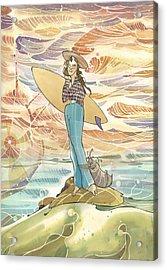 Retro Surfer Acrylic Print