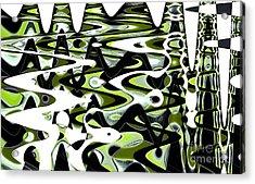 Retro Waves Abstract - Lime Green Acrylic Print by Natalie Kinnear