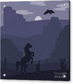 Retro Wild West Galloping Horse In Acrylic Print by Barsrsind