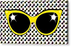 Retro Yellow Cat Sunglasses Acrylic Print