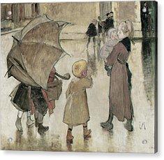 Return To School Oil On Panel Acrylic Print by Henri Jules Jean Geoffroy