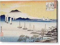 Returning Sails At Yabase Acrylic Print by Hiroshige