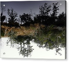 Reverse Reflection On A Crab Fishermans Canal Acrylic Print