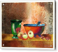 Reworking Of Chardin Acrylic Print by Brett Shand