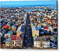 Reykjavik Cityscape Panorama Acrylic Print