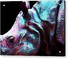 Rhino 1 - Rhinoceros Art Prints Acrylic Print by Sharon Cummings