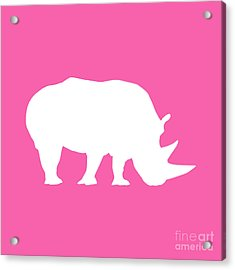 Rhino In Pink And White Acrylic Print