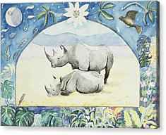 Rhino Month Of February From A Calendar Acrylic Print