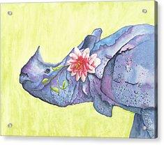 Rhino Whimsy Acrylic Print by Mary Ann Bobko