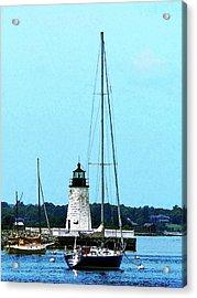 Rhode Island - Boats Near Lighthouse Bristol Ri Acrylic Print by Susan Savad