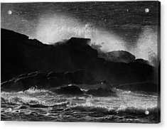 Rhode Island Rocks With Crashing Wave Acrylic Print