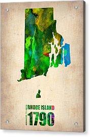 Rhode Island Watercolor Map Acrylic Print by Naxart Studio