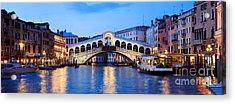 Rialto Bridge At Night Venice Italy Acrylic Print