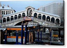 Rialto Bridge - Color Acrylic Print by Jacqueline M Lewis