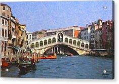 Acrylic Print featuring the digital art Rialto Bridge Venice by Spyder Webb