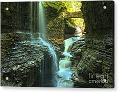 Rainbow Falls Watkins Glen Acrylic Print by Adam Jewell