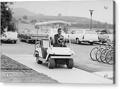 Richard Nixon Driving A Golf Cart Acrylic Print by Everett