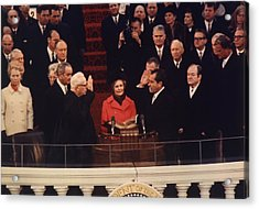Richard Nixon Taking The Oath Of Office Acrylic Print by Everett