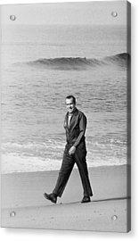 Richard Nixon Walking On The Beach Acrylic Print by Everett
