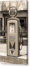 Richfield Ethyl - Gas Pump - Sepia Acrylic Print by Mike McGlothlen