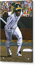 Rickey Henderson Acrylic Print by Mike Rabe
