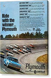 Ride With The Winner... Plymouth Acrylic Print by Digital Repro Depot
