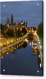 Rideau Canal And The Parliament Buildings At Night Acrylic Print by Rob Huntley