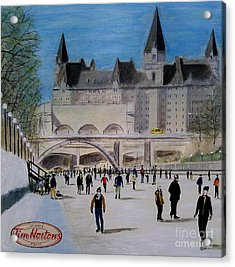 Rideau Canal Winterlude Acrylic Print by John Lyes