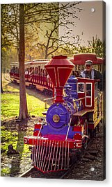 Riding Out Of The Sunset On The Hermann Park Train Acrylic Print