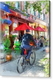 Riding Past The Cafe Acrylic Print by Susan Savad