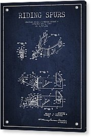 Riding Spurs Patent Drawing From 1959 - Navy Blue Acrylic Print