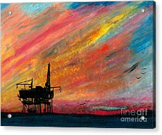 Rig At Sunset Acrylic Print