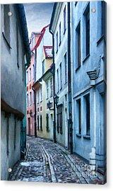 Riga Narrow Street Painting Acrylic Print by Antony McAulay