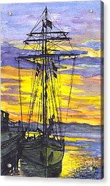 Rigging In The Sunset Acrylic Print by Carol Wisniewski