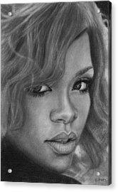 Rihanna Pencil Drawing Acrylic Print