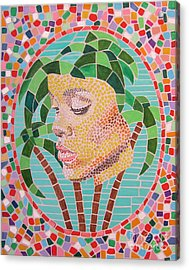 Rihanna Portrait Painting In Mosaic  Acrylic Print by Jeepee Aero
