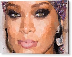 Rihanna Portrait Acrylic Print by Samuel Majcen