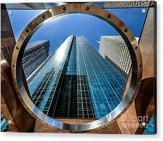 Ring Of Trust - Wells Fargo Plaza Acrylic Print by Dee Zunker
