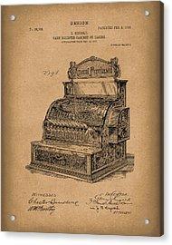 Ringold Cash Register 1904 Patent Art Brown Acrylic Print by Prior Art Design