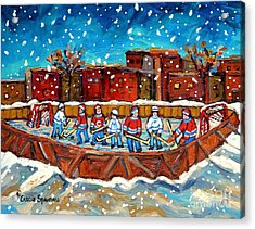 Rink Hockey Game Little Montreal Superstars Montreal Memories Snowy City Scene Carole Spandau Acrylic Print by Carole Spandau