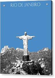 Rio De Janeiro Skyline Christ The Redeemer - Slate Acrylic Print by DB Artist