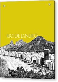 Rio De Janeiro Skyline Copacabana Beach - Mustard  Acrylic Print by DB Artist