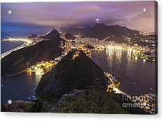 Rio Evening Cityscape Panorama Acrylic Print by Mike Reid
