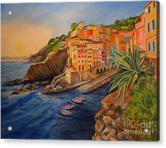 Riomaggiore Amore Acrylic Print by Julie Brugh Riffey