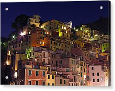 Riomaggiore Buildings At Night Acrylic Print by Ioan Panaite