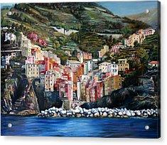 Riomaggiore Glory- Cinque Terre Acrylic Print by Jennifer Lycke