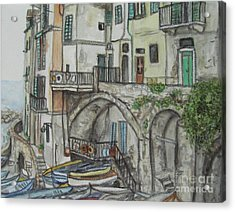 Acrylic Print featuring the painting Riomaggoire Cinque Terre Italy by Malinda  Prudhomme