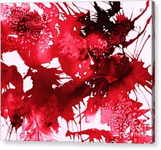 Riot Of Red Abstract Acrylic Print by Ellen Levinson